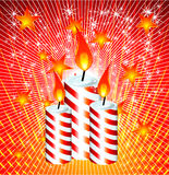 Christmas Candles. Christmas Candled and Ribbon baclground Stock Images