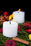 Christmas candles on advent wreath Royalty Free Stock Photography
