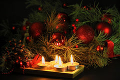 Christmas candles background Stock Images