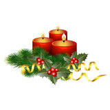 Christmas candles. Christmas background with  candles, holly and spruce branches. vector illustration Royalty Free Stock Photos