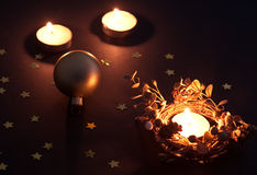 Christmas candles and ball Royalty Free Stock Photos