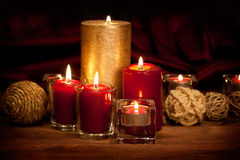 Christmas - candles and balls Royalty Free Stock Photos
