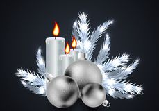 Christmas candles and balls on the background of branches of the. Christmas tree in silver style, vector art illustration stock illustration