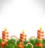 Christmas candles with balls, candy and pine on grayscale Royalty Free Stock Images