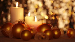 Christmas Candles and Balls. Changing Light stock video footage
