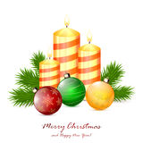 Christmas candles and balls. Christmas balls and candles with fir tree branches  on white background, illustration Royalty Free Stock Photography