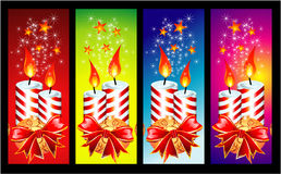 Christmas Candles Banner. Christmas Candled and Ribbon baclground Stock Photos