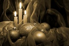 Christmas Candles & Baubles Royalty Free Stock Photography