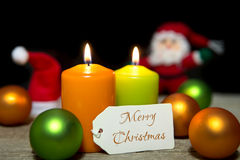 Christmas candles, baubles, card, Merry Christmas Royalty Free Stock Photo