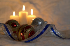 Christmas Candles & Baubles - Stock Image Stock Images