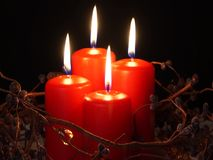 Christmas candles burning. Four red christmas candles burning stock video footage