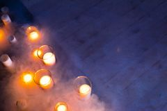 Christmas candles burning at night.  royalty free stock photos