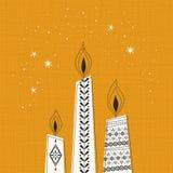 Christmas candles, christmas card. Vector illustration Stock Image