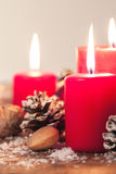 Christmas candles with christmas decorations, christmas or new year atmosphere Royalty Free Stock Images
