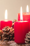 Christmas candles with christmas decorations, christmas or new year atmosphere. Selective focus Stock Image