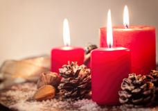 Christmas candles with christmas decorations, christmas or new year atmosphere Stock Photography