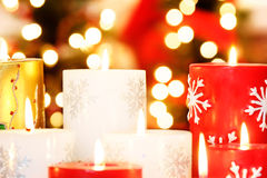 Christmas candles closeup stock image