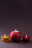 Christmas Candles with copyspace Stock Photos