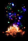 Christmas candles in the dark night. As nice holiday background Stock Photography