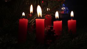 Christmas candles in the dark stock video footage