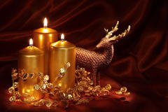 Christmas candles and decoration stock photo