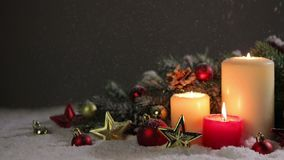 Christmas candles with decoration stock video footage