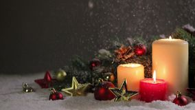 Christmas candles with decoration stock footage