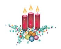 Christmas Candles Decoration on Fir Twigs and Christmas Balls Royalty Free Stock Photo