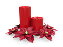 Christmas Candles Decoration. Isolated on white background. 3D render Stock Photos