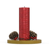 Christmas Candles Decoration. On white background. 3D render Stock Photo