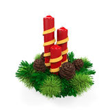 Christmas Candles Decoration. On white background. 3D render Royalty Free Stock Photos
