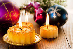 Christmas candles and decorations Stock Photography