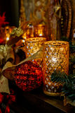 Christmas candles and decorations. Royalty Free Stock Images