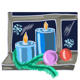 Christmas candles. And Christmas decorations on a window sill.eps Royalty Free Stock Photo