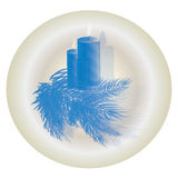 Christmas candles with fir free blue. Christmas-tree Royalty Free Stock Images