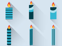 Christmas candles in a flat design with long shadow. Vector. Illustration Stock Photo