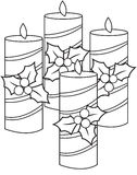 Christmas Candles. Four decorated Christmas candles together royalty free illustration