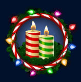 Christmas candles in frame Royalty Free Stock Image