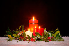Christmas candles with garland, stock image