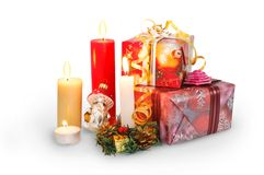 Christmas candles and gifts Stock Image
