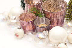 Christmas. Candles and glass balls Stock Images