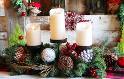 Rustic Christmas Candles royalty free stock photos