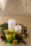 Christmas candles gold background royalty free stock photo