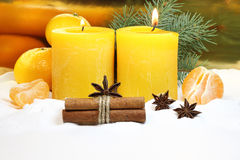 Christmas candles on a gold background Stock Photo