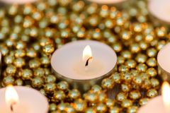 Christmas candles with golden decoration Royalty Free Stock Photo