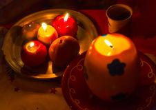 Christmas candles in Greece Royalty Free Stock Image