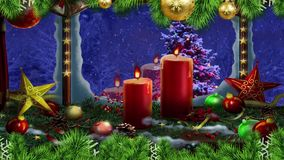 Christmas candles greetings window stock illustration