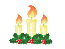 Christmas Candles and Holly Royalty Free Stock Photos