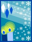 Christmas candles. Illustration represeting two candles with decorations and snowflakes. An idea for Christmas time stock illustration