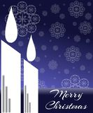 Christmas candles in blue tones royalty free stock image